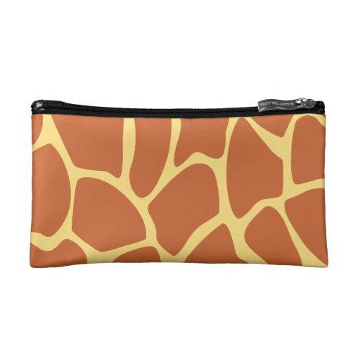 Giraffe Print Pattern in Brown and Yellow. Cosmetic Bag