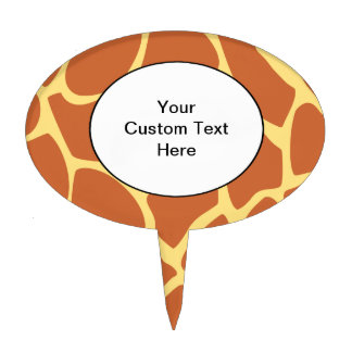 Giraffe Print Pattern in Brown and Yellow. Cake Topper