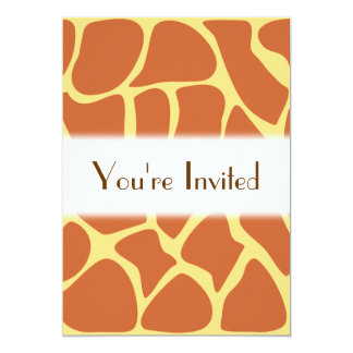 Giraffe Print Pattern in Brown and Yellow. 5x7 Paper Invitation Card