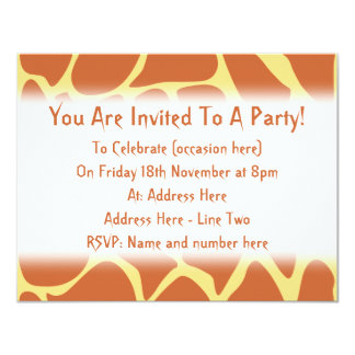 Giraffe Print Pattern in Brown and Yellow. 4.25x5.5 Paper Invitation Card
