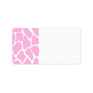 Giraffe Print Pattern in Candy Pink. Address Label
