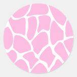 Giraffe Print Pattern in Candy Pink. Classic Round Sticker