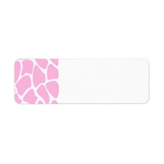 Giraffe Print Pattern in Candy Pink. Label