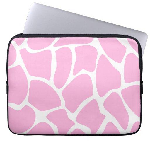 Giraffe Print Pattern in Candy Pink. Laptop Sleeves