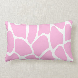 Giraffe Print Pattern in Candy Pink. Lumbar Pillow