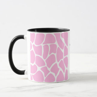 Giraffe Print Pattern in Candy Pink. Mug
