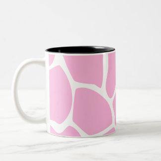 Giraffe Print Pattern in Candy Pink. Two-Tone Coffee Mug