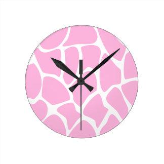 Giraffe Print Pattern in Candy Pink. Round Clock
