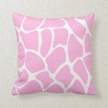 Giraffe Print Pattern in Candy Pink. Throw Pillows