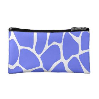 Giraffe Print Pattern in Cornflower Blue Makeup Bags