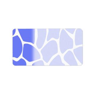 Giraffe Print Pattern in Cornflower Blue. Label