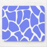 Giraffe Print Pattern in Cornflower Blue. Mousepads