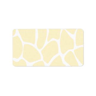 Giraffe Print Pattern in Cream Color. Label