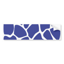 Giraffe Print Pattern in Dark Blue. Bumper Sticker