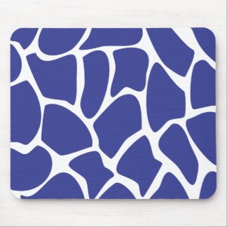 Giraffe Print Pattern in Dark Blue. Mouse Pad