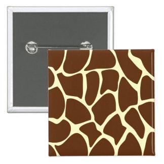 Giraffe Print Pattern in Dark Brown. 2 Inch Square Button