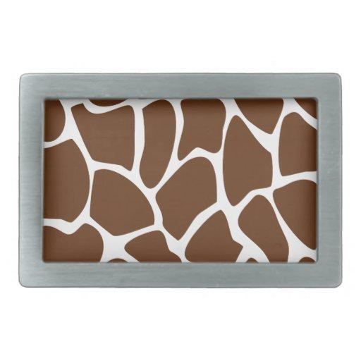 Giraffe Print Pattern in Dark Brown. Belt Buckles