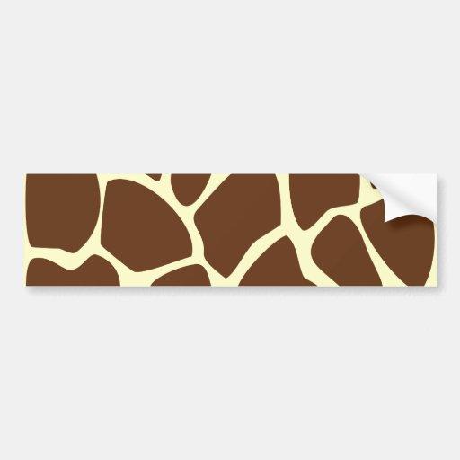 Giraffe Print Pattern in Dark Brown. Car Bumper Sticker