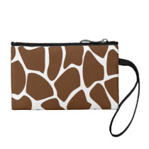 Giraffe Print Pattern in Dark Brown. Change Purse