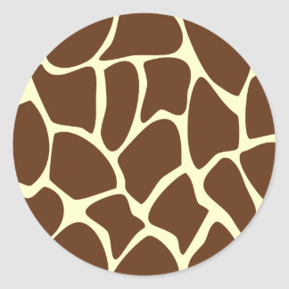 Giraffe Print Pattern in Dark Brown. Classic Round Sticker