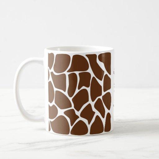 Giraffe Print Pattern in Dark Brown. Coffee Mugs