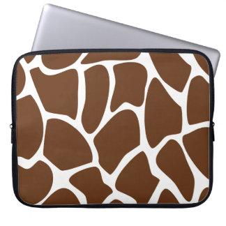 Giraffe Print Pattern in Dark Brown. Computer Sleeve