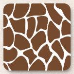 Giraffe Print Pattern in Dark Brown. Beverage Coasters