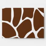 Giraffe Print Pattern in Dark Brown. Envelopes