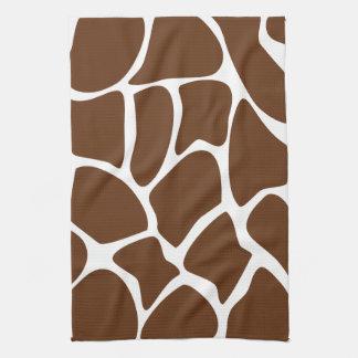 Giraffe Print Pattern in Dark Brown. Hand Towel