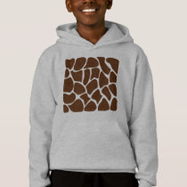 Giraffe Print Pattern in Dark Brown. Hoodie