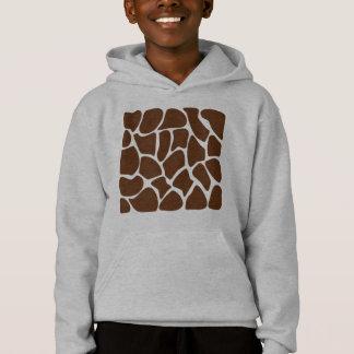 Giraffe Print Pattern in Dark Brown. Hoodie