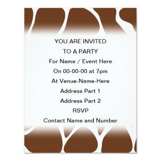 Giraffe Print Pattern in Dark Brown. 4.25x5.5 Paper Invitation Card