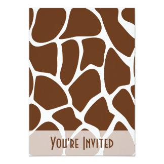 Giraffe Print Pattern in Dark Brown. 5x7 Paper Invitation Card