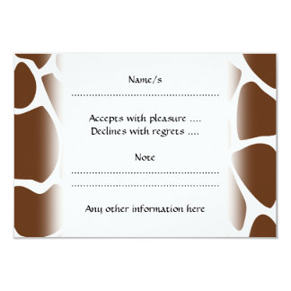 Giraffe Print Pattern in Dark Brown. 3.5x5 Paper Invitation Card