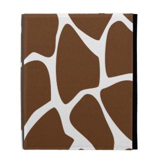 Giraffe Print Pattern in Dark Brown. iPad Folio Cases
