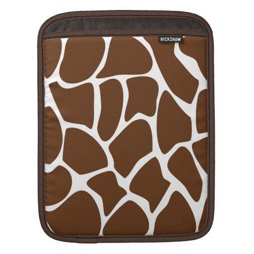 Giraffe Print Pattern in Dark Brown. iPad Sleeves