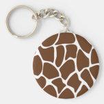 Giraffe Print Pattern in Dark Brown. Basic Round Button Keychain