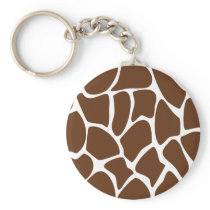 Giraffe Print Pattern in Dark Brown. Keychain