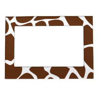 Giraffe Print Pattern in Dark Brown. Photo Frame Magnets