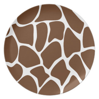 Giraffe Print Pattern in Dark Brown. Melamine Plate