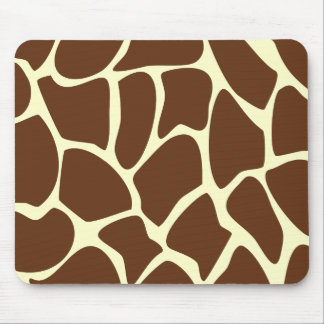 Giraffe Print Pattern in Dark Brown. Mouse Pad