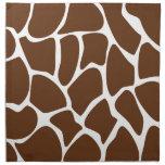 Giraffe Print Pattern in Dark Brown. Printed Napkin