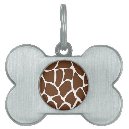 Giraffe Print Pattern in Dark Brown. Pet Tags