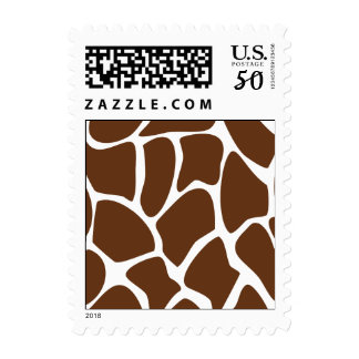 Giraffe Print Pattern in Dark Brown. Postage
