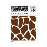 Giraffe Print Pattern in Dark Brown. Postage Stamp