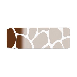 Giraffe Print Pattern in Dark Brown. Return Address Label