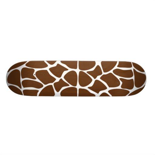 Giraffe Print Pattern in Dark Brown. Skate Board