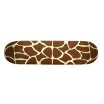 Giraffe Print Pattern in Dark Brown. Skateboard Deck