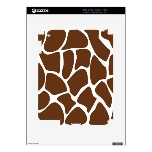 Giraffe Print Pattern in Dark Brown. Skins For iPad 2