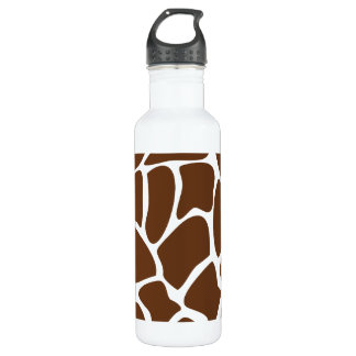 Giraffe Print Pattern in Dark Brown. Stainless Steel Water Bottle